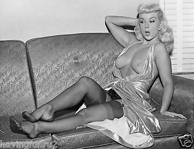 1960 Pinup Jennifer Garland Upskirt and Bare Breasts on Couch 8 x 10 Photograph