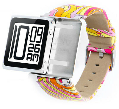 iWatchz Psychedelic Pink Armband für Apple iPod Nano 6 ,Stoff,Pucci Muster,70er