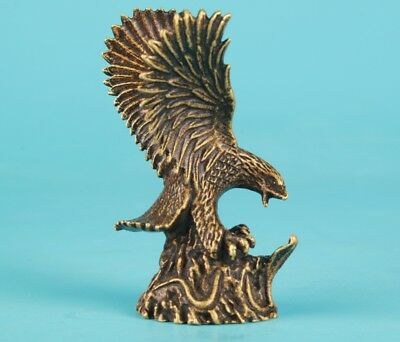 Old Rare Bronze Casting Handmade Flying Eagle Statue Little Statue