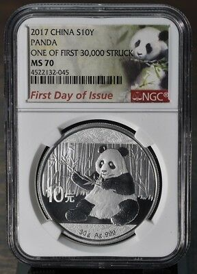2017 China Silver Panda -NGC MS70 First Day Of Issue One Of First 30,000 Strikes
