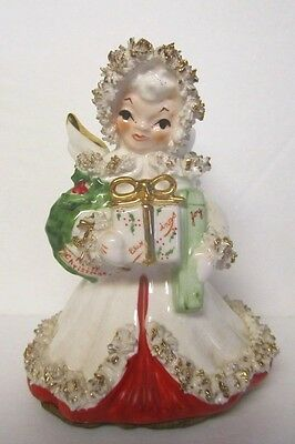 Vintage Spaghetti Christmas Angel Holding Christmas Wreath & Presents