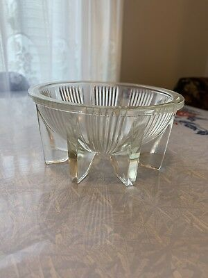 Rare 1930's Art Deco Depression Footed Ribbed Clear Glass Bowl Rare Form