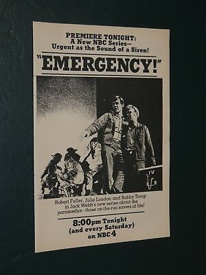 1972 Tv Guide Ad Emergency Nbc Series Premiere  **free Shipping**