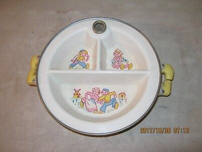 Vintage Child's Baby Plate Dish Bowl Antique Dutch Girl & Boy WATER HEATED