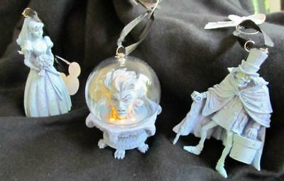 DISNEY PARKS Haunted Mansion 3 Ornament Light Up Leota, Bride & Hatbox Ghost NEW