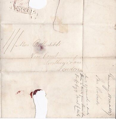 # 1827 Rare Guernsey Scroll Postmark On Wrapper To Rothschild London Banker