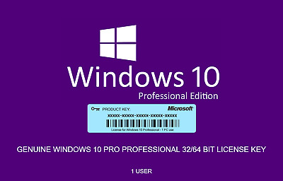 Microsoft Windows 10 Pro Genuine Product Key Instant Working Official 100%