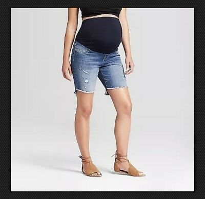 Isabel Maternity Crossover Bermuda Blue Distressed Jean Shorts – Sizes 0-18 #fp3