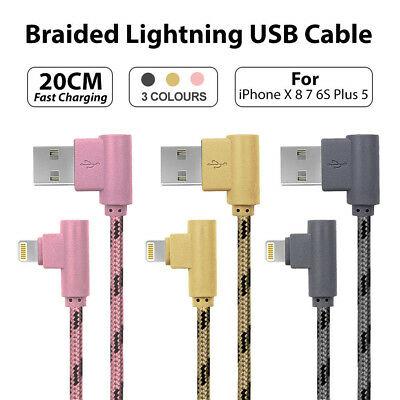 20CM Short Braided Lightning USB Cable Fast Charging Cord iPhone X 8 7 6S Plus 5