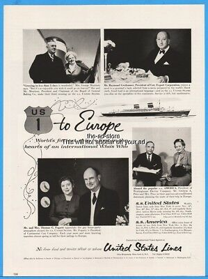 1956 S.S. America United States Lines SS Ocean Liner Cruise Ship US Route 1 Ad