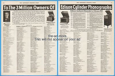 1920 Edison Amberola Model 30 50 Cylinder Player Phonograph Dealer List Ad