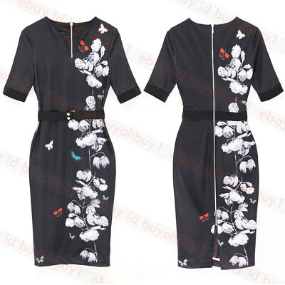 259a88eb4 NEW TED BAKER Idola Natural Soft Blossom Fit   Flare Dress Size 3 US ...