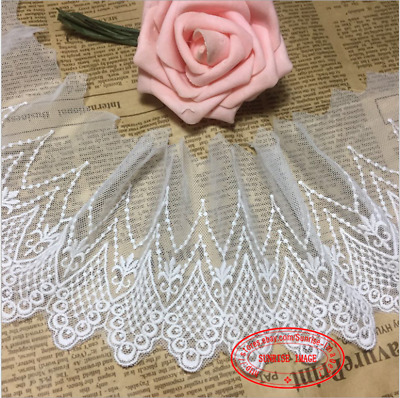 1 yard Cotton Tulle Lace Trim Ribbon Appliques Embroidered crafts Sewing FL242
