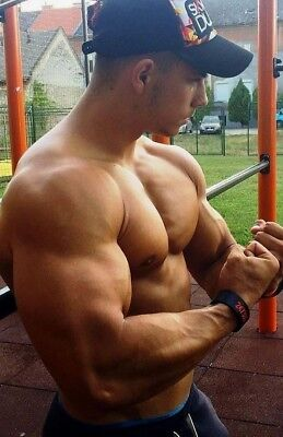 Shirtless Male Beefcake Muscular Body Builder Hunk Flexing Arms PHOTO 4X6 F1268