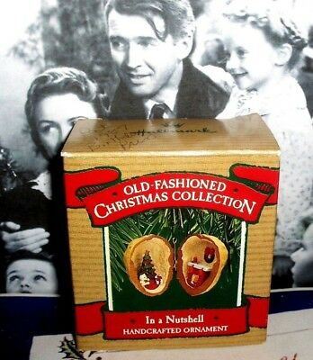In A Nutshell`1987`Old Fashion Christmas,Tree & Fireplace,Hallmark Tree Ornament