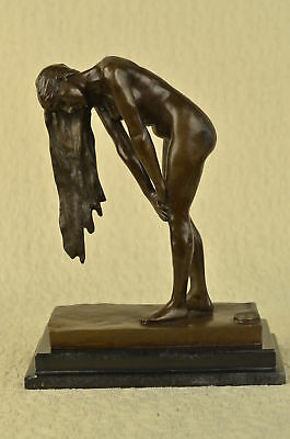 Figurine Bronze Sculpture Statue Original Vitaleh Nude Girl W/ Long Hair Figure