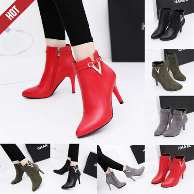 Women Ankle Boots Lady's Shoes Leather Zipper Bling Thin High Heels Pointed Toe