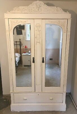 Vintage Painted Mirrored Armoire Wardrobe Cupboard