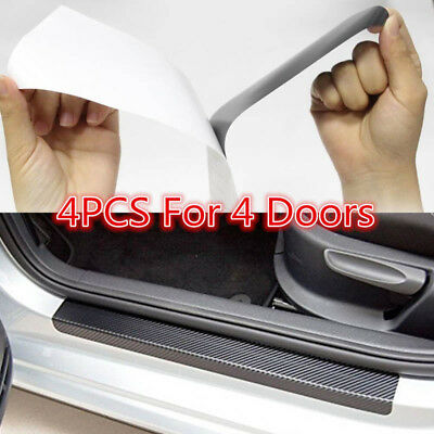 4pcs Black 3D Carbon Fiber Car Door Plate Sill Scuff Cover Anti Scratch Sticker