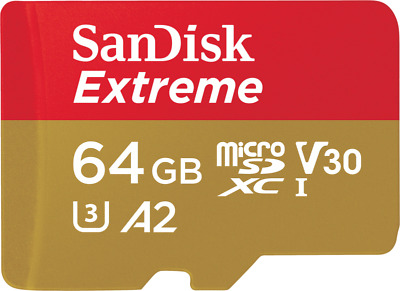 SanDisk Extreme 64GB Micro-SDXC A2 Card mit 160 MB/s UHS-3 Speed U3 + SD-Adapter