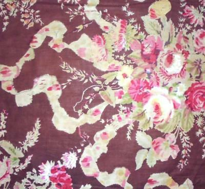 BEAUTIFUL 19th CENTURY FRENCH BLOCK PRINT CHINTZ, ROSES RIBBONS 103.