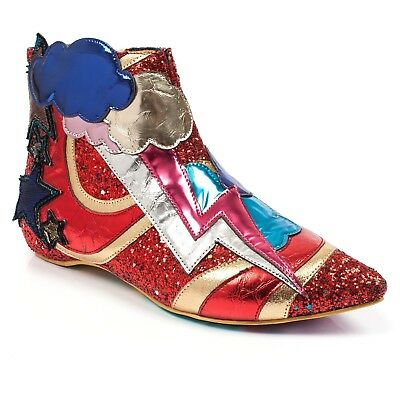 New Irregular Choice *Electric Buzz* Red/Gold (A) Lightning Boots