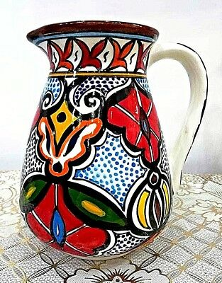 Holly Land Ceramic Moroccan Hand Painted Water Jug Pitcher Made in Palestine Art
