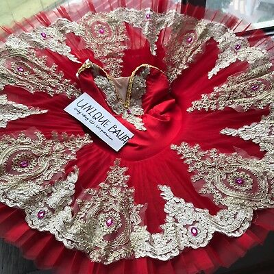 Professional Classical Ballet Tutu Dance Costume Red Golden Trims Pancake Skirt
