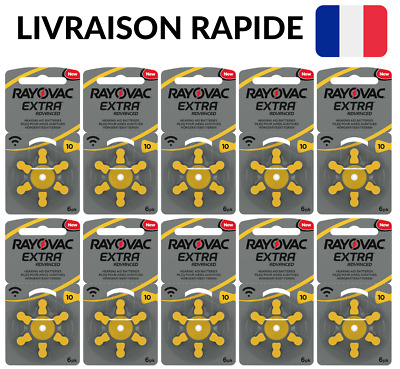 60 Piles Auditives Rayovac SANS MERCURE Extra Advanced Taille 10 Appareil Senior