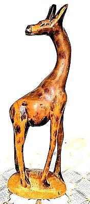 Hand Carved Wood Giraffe Statue African Sculpture Figurine Tall Kenya Jungle
