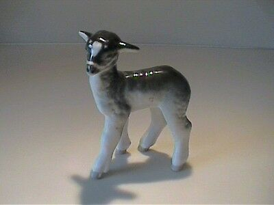 "Vintage Ceramic Gray & White Lamb Or Sheep 4"" Tall"