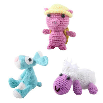 3 Sets DIY Pig Cow Dog Crochet Doll Kit for Adults Knit Stuffed Toy Handmade