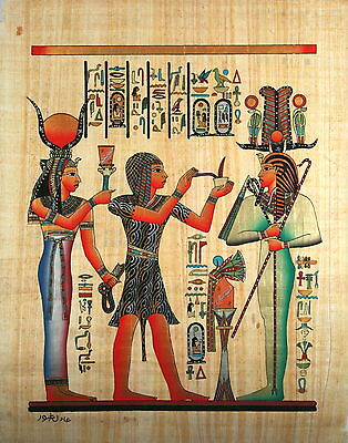 "Egyptian Papyrus - Ancient Artwork - 16"" x 24"" - Seti I, The Priest And Hathor"