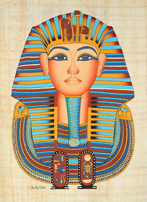 """Egyptian Papyrus - Hand Made Artwork - 9"""" x 13"""" Ancient Art - King Tut's Mask"""