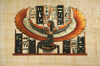 """Egyptian Papyrus - Hand Made Artwork - 9"""" x 13"""" Ancient Art Form - Winged Isis"""