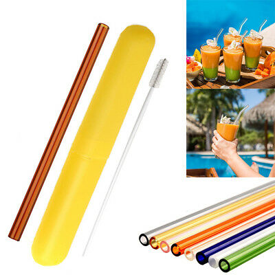Reusable Glass Straw Wedding Birthday Party Drinking Straws Set + Cleaning Brush