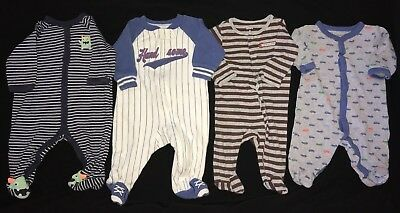 f84efef8c8753 4 PC BABY BOYS SLEEPERS size 3 month CARTER'S cars stripes MONSTERS sports  CUTE