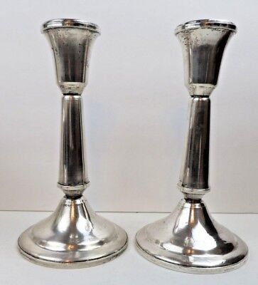"""Pair Duchin Sterling Silver 7"""" Tall Candlesticks Candle Holders"""
