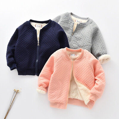 Toddler Baby Kid Child Girls Boys Solid Warm Winter Tops Baseball Coat Jacket S2
