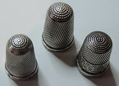 Three antique sterling silver thimbles two by Charles Horner, Chester