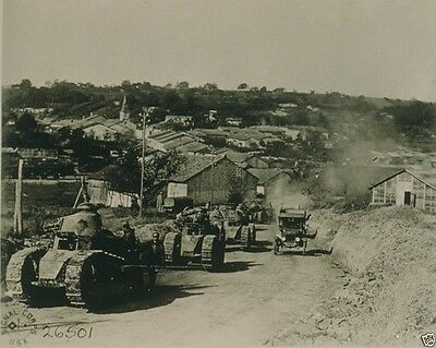 French Tanks passing through Rampont France 1918 World War I WWI 8x10 Photo