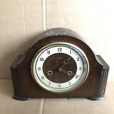 Vintage Smiths Enfield Wooden Mantle Clock with Pendulum