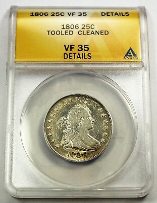1806 ANACS VF 35 Details United States Draped Bust - Tooled & Cleaned