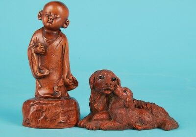 2 Vintage Chinese Boxwood Handmade Carving Dog Children Statue Old Collection