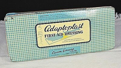 Vintage Adaptoplast Tin First Aid Dressing Chemists Old Medical 1960s