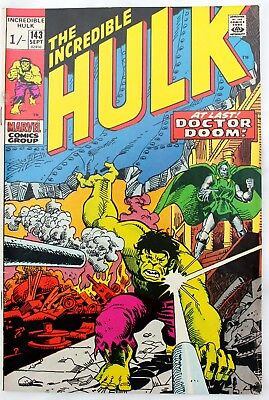 Incredible Hulk (vs Dr. Doom) 143  a fn++ 1971 early Bronze Age Marvel Comic