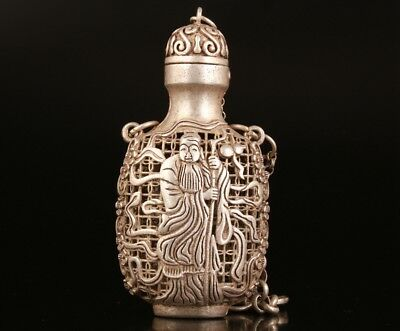 Vintage Chinese Tibetan Silver Pendant Snuff Bottle Hollow God Of Wealth Mascot