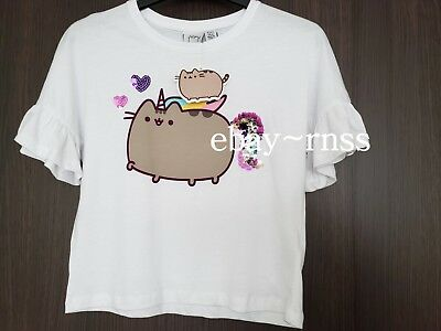 7c8c254ea0a Pusheen unicorn The cat GIRLS TOP crop age 8-9 frilly sleeves SEQUINS 2 Way