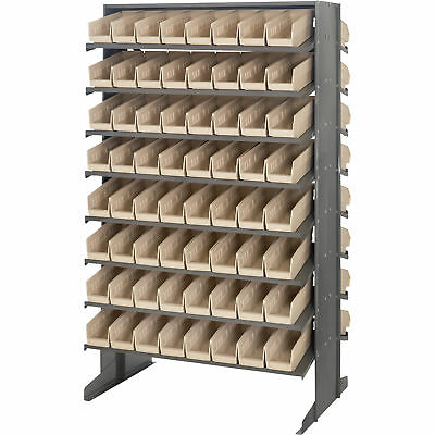 Quantum Storage Double Sided Rack w/128 Bins 24in x 36in x 60in Size Ivory