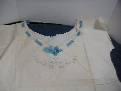 ANTIQUE  Lady's NIGHTGOWN Cotton  stamped made in Italy  Ribbon